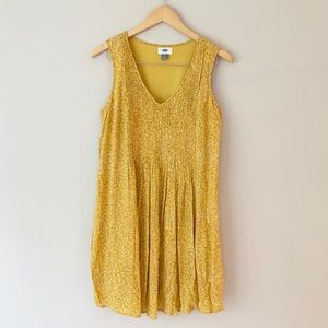 Mustard Yellow Floral Mini Swing Dress EUC